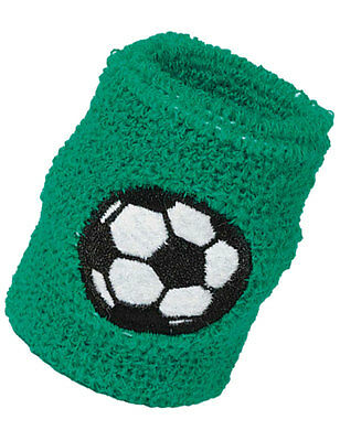 2 GREEN FOOTBALL SOCCER WRISTBANDS Children's Sweatbands Party Favours 97430