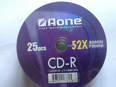 25 Pack Aone CD-R - 52x 80Min / 700MB - Video/Audio/Data/Picture