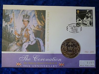 Isle Of Man BU 1 Crown PNC 2003 Coronation Anniversary