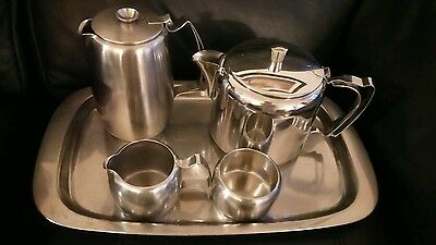 Old Hall Stainless Steel 5 Pieces - Tray- 2 Pt Teapot -Jug Sugar Bowl-VGC