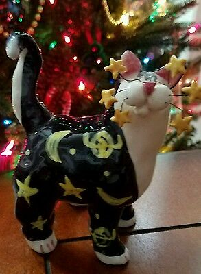 "Whimsiclay Amy Lacombe figurine cat ""Celestial"" 2001"