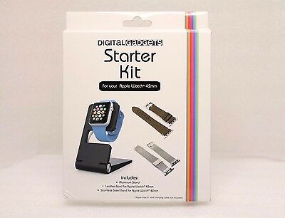 Digital Gadgets Starter Kit for Apple Watch 42mm Leather & Stainless Steel Band