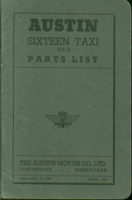 Austin Sixteen Fx3 Taxi Original 1949 Factory Spare Parts List