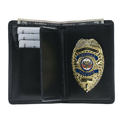 Police Badge Wallet  Universal Fit- All Leather-Black- For Pin Back Badge