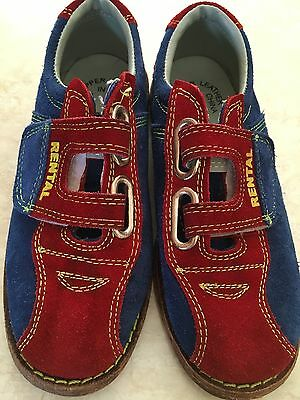 BSI - Kids Rental Bowling Shoes - Size 2 - Leather Sole Blue & Red Velcro Youth