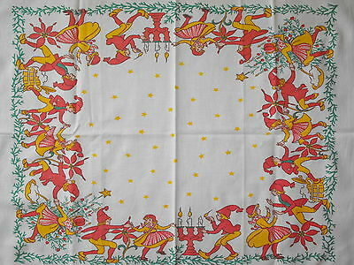 vtg Mid Century Swedish hand printed Christmas tablecloth model of Jenny Nyström