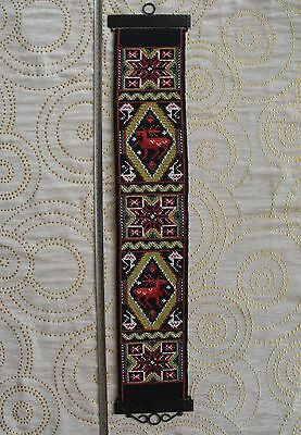 vintage hand-embroidered wool tapestry, wall hanging with reindeers
