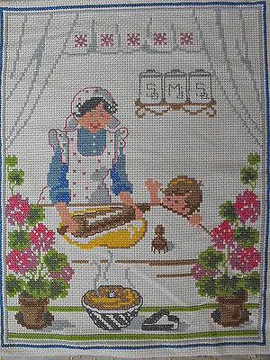 Vintage cross-stitch hand-embroidered wall hanging Mom knead homemade bread