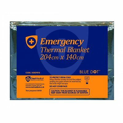 10 x Emergency Foil Blankets Adult Size 204cm x 140cm First Aid Kit Essential BD