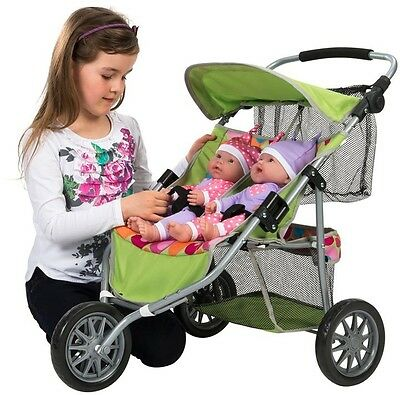 Dolls Double Twin Jogger Buggy Stroller Pushchair Pram Kids Girls Toy For Age 3+
