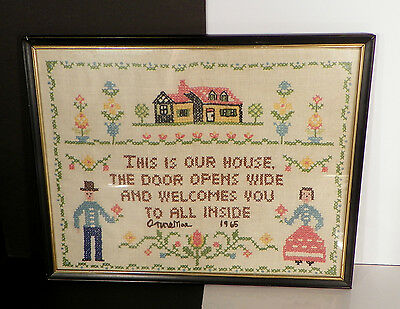 Vintage Embroidered Framed Sampler Artist Signed 1965 Our House Welcomes