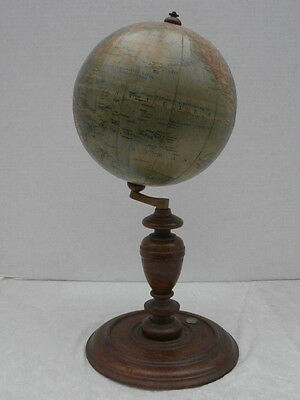 Terrestrial Globe By L. Heymann Germany  Ca 1910/30 On Wooden Stand With Compass