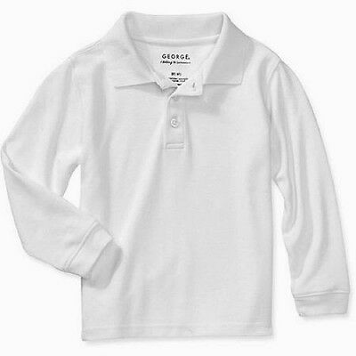 George Unisex Toddler's School Uniform Long Sleeve Polo, 5T, Arctic White