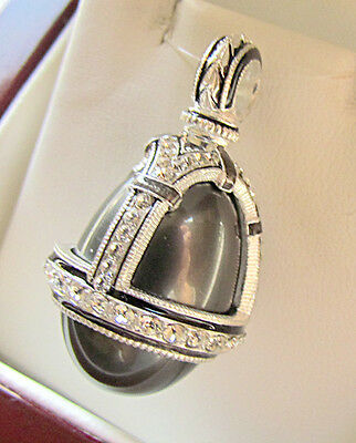 Sale ! Gorgeous Russian Egg Pendant Handmade Of Sterling Silver 925 Black Pearl