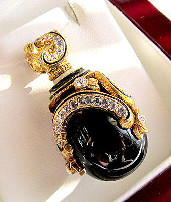 SALE ! SUPERB  RUSSIAN STERLING SILVER 925 & 24K GOLD PENDANT with GENUINE ONYX