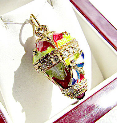 One Of A Kind Solid Silver 925 & 24K Gold Egg Pendant Hot Air Balloon Butterfly