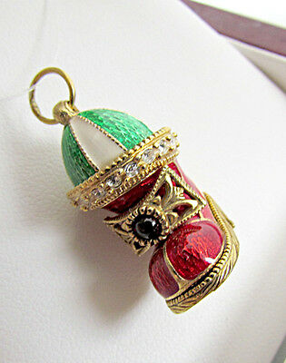 One Of A Kind Sterling Silver 925 & 24K Gold Enameled Pendant Christmas Stocking