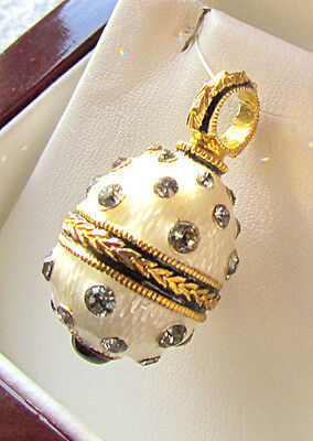 SALE ! SUPERB RUSSIAN STERLING SILVER 925 and 24K GOLD ENAMELED EGG PENDANT