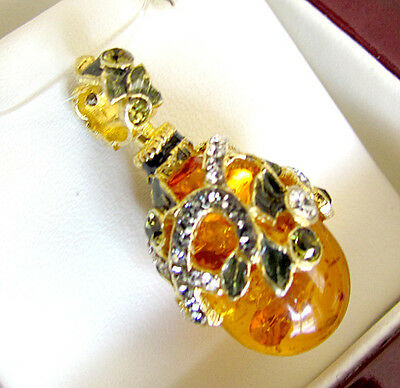 Sale ! Gorgeous Genuine Amber Russian Sterling Silver & 24K Gold Egg Pendant
