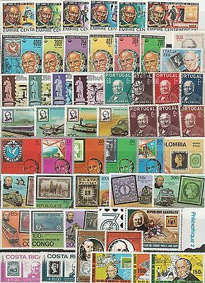 51 Different Mounted Mint Stamps Featuring Sir Rowland Hill. Mixed Countries.