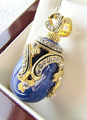 Sale ! Gorgeous Sterling Silver925 And 24 Gold Russian Egg Pendant Genuine Lapis