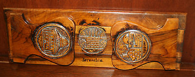 Judaica Jewish Hand Carved Olive Wood Retractable Bookends Jerusalem