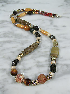 Vintage Chinese Mixed Gemstone Bone Carved Bead Necklace Sterling Mid Century