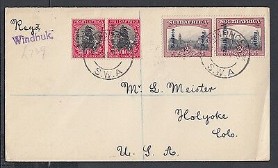 South West Africa 1928 Registered South Africa Overprint Cover Windhoek To Usa
