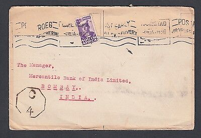South Africa 1946 Censored Re-Labeled Cover Capetown To Bombay India