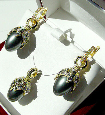 SUPERB ENAMEL EGG PENDANT & EARRINGS SET SILVER 925 with GRAY PEARL