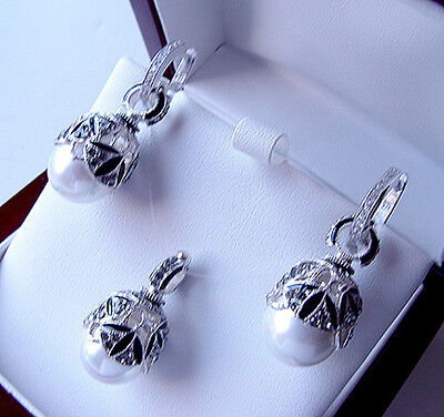 SALE !   SUPERB ENAMEL EGG PENDANT & EARRINGS SET SILVER 925 with GENUINE PEARL