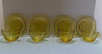 4 Sets Vintage Madrid Federal Depression Glass Yellow Amber Cup & Saucers  (R3)