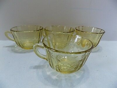 Vintage Madrid Federal Depression Glass Yellow Amber Cups  (R3)