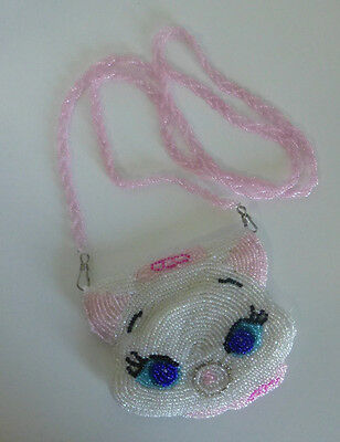 Japan Disney Aristocats Marie Cat Beaded Coin Purse with Strap