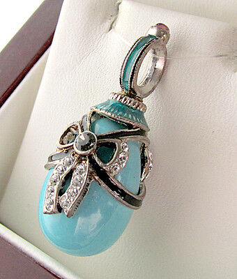 SALE ! ELEGANT MADE OF STERLING SILVER w/ GENUINE TURQUOISE RUSSIAN EGG PENDANT