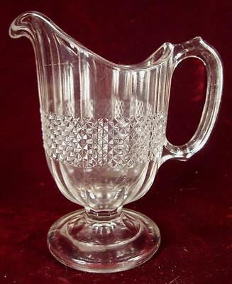 Optic Diamond Band Creamer On Pedestal EAPG Clear Central Glass Co 546 1881 (O2)
