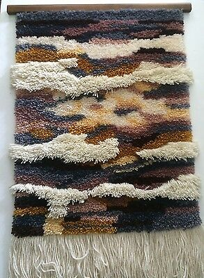 Vintage Completed LATCH HOOK Wall Hanging Sculptural Wave Pattern EARTH TONES!