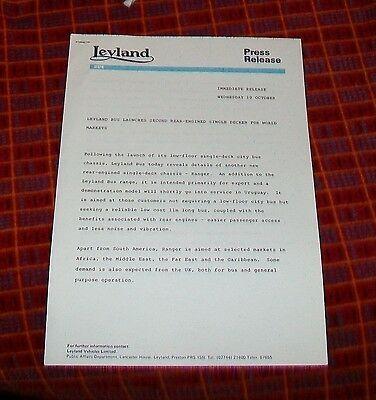 Leyland Bus Rear Engined Single Decker Chassis Press Release 1984
