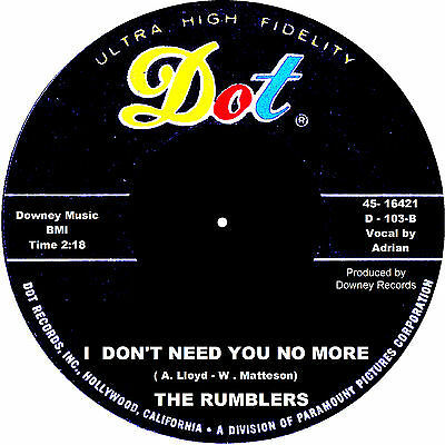 I DON'T NEED YOU NO MORE The Rumblers  *HOT STROLLER*