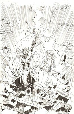 Gwenpool #2 Varaint Cover - Thor Jane Foster and Gwenpool - 2016 by Reilly Brown