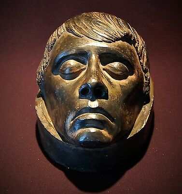 Very Old Dark Macabre Plaster Death Mask Head Signed Statue Curio Medical Art