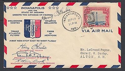 Usa 1930 Indianapolis Governor Signed Airmail Cover Welcoming French Aviators