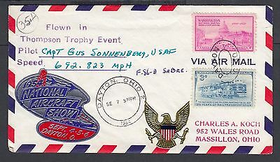 Usa 1954 National Aircraft Show Thompson Trophy Event Airmail Cover Signed