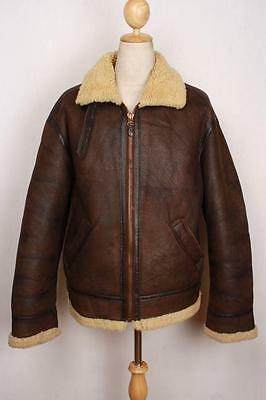 Vtg B-3 Sheepskin Leather Flight Jacket Size Large