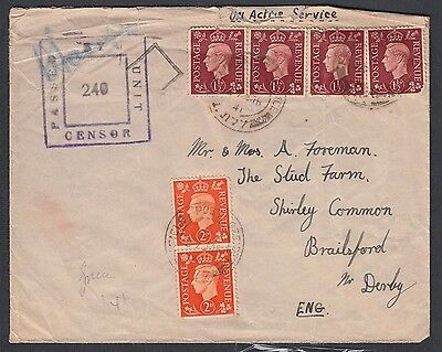 UK GREECE 1940s THREE FIELDPOST OFFICES FPO IN GREECE 177, 514 & 783 TO ENGLAND