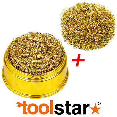 Brass Wool Soldering Iron Tip Cleaning Ball & Base Plus 1 Refill Ball
