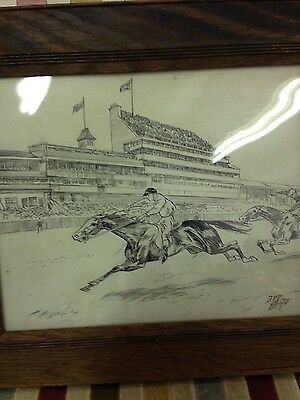 Original Horseracing picture Epsom 1894, Pen and Ink