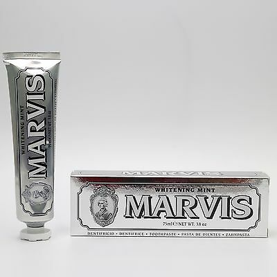 Marvis Toothpaste- Whitening Mint 75 ml (includes free Charcoal bristled brush!)