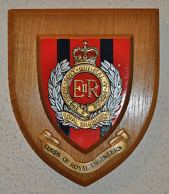 Vintage Royal Engineers regimental mess wall plaque shield crest RE British Army