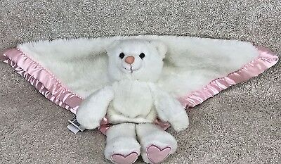 My Banky Kisses Bear Plush Security Blanket White Pink Trim 24x18 Baby Lovey